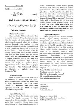 ÖLÜM GERÇEĞİ - Osmaniye İl Müftülüğü