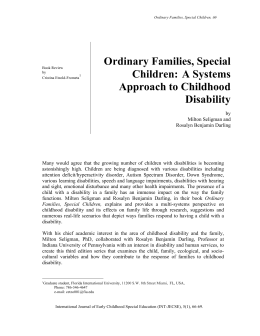 Ordinary Families, Special Children: A Systems Approach to