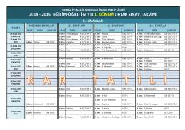 2014 - 2015 eğitim-öğretim yılı 1. dönem ortak sınav takvimi