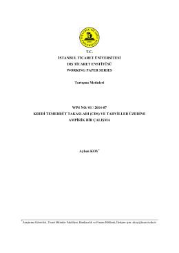 (CDS) ve Tahviller Üzerine Ampirik Bir Çalışma