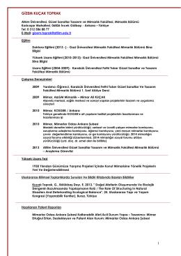 ÖZGEÇMİŞ 26 - Atılım Üniversitesi | Mimarlık Bölümü
