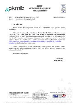 Hindistan-Anti-Damping Önlemi - Akdeniz İhracatçı Birlikleri