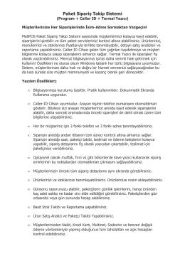 Sipariş Takip Sistemi PDF Katalog İNDİR