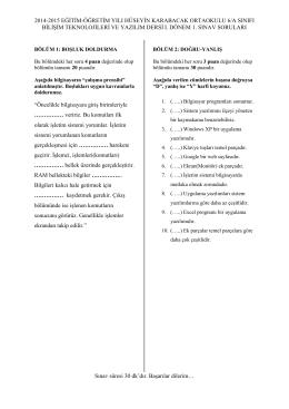 2014-2015 eğitim-öğretim yılı hüseyin karabacak ortaokulu 6