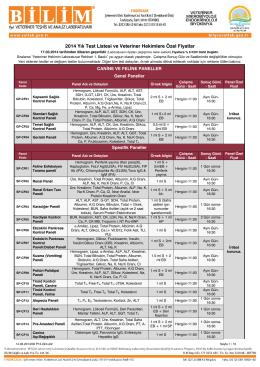 2014 Yılı Test Listesi ve Veteriner Hekimlere Özel Fiyatlar