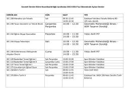 2013-2014 öğretim yılı yaz dönemi açılan seçmeli dersler