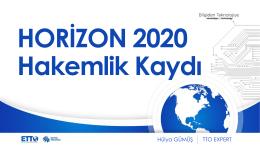 HORIZON 2020 Hakemlik Kaydı