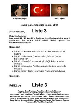 Isyeri Iscitemsilciligi Secimi 2014