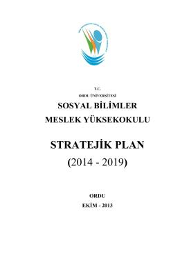 2014-2019 stratejik planı - Sosyal Bilimler Meslek Yüksekokulu