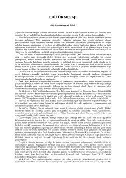 editör mesajı - DergiPark