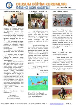 1 EKİM 2014 - Oluşum Koleji