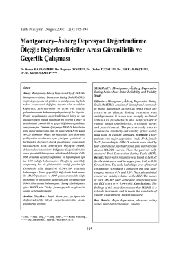 3-Montgomery ve Asberg - Türk Psikiyatri Dergisi
