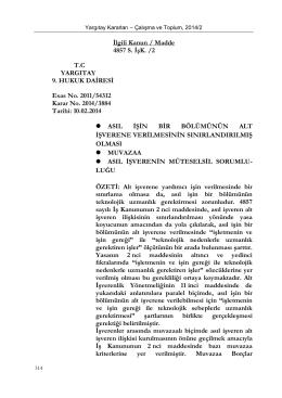 İlgili Kanun / Madde 4857 S. İşK. /2 T.C YARGITAY 9. HUKUK