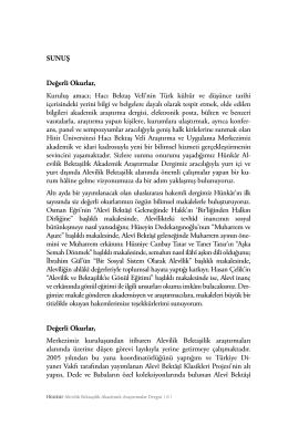 Editörden - HÜNKÂR Alevilik Bektaşilik Akademik Araştırmalar Dergisi