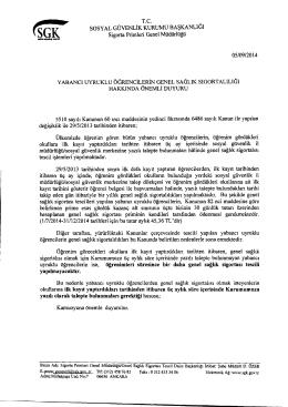 T.C. SOSYAL GUVENLIK KURUMU BASKANLIOI Sigorta Primleri