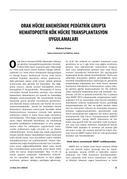 Orak hücre anemisinde pediatrik grupta hematopoetik kök hücre