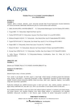 Esas Sözleşme - Özışık İnşaat ve Enerji A.Ş