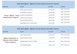 2014-2015 Eğitim - Öğretim Yılı Güz Dönemi Ara Sınavı