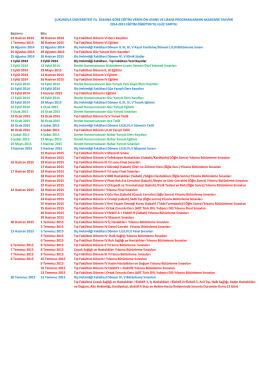 Başlama Bitiş 23 Haziran 2014 30 Haziran 2014 Tıp Fakültesi