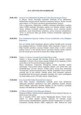 25-31 Ağustos 2014 Haftası Denizcilik Haberleri