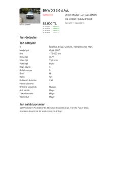 BMW X3 3.0 d Aut. 82.000 TL İlan detayları