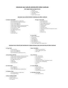 erzurum halk sağlığı müdürlüğü görev dağılımı