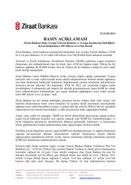 22 Eylül 2014 - Ziraat Bankası