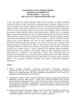 Milletlerarası Hukuk Dersi Pratik Çalışma Metni – 06.05.2014