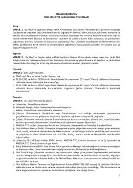 Atılım Üniversitesi Fikri Mülkiyet Hakları Usul ve Esasları