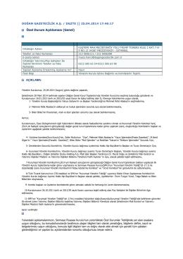2014 - 11 Yönetim Kurulu Görev Dağılımı ve Komitelerin Teşkili
