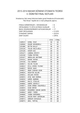2013-2014 bahar dönemi otomata teorisi ıı. öğretim final notları