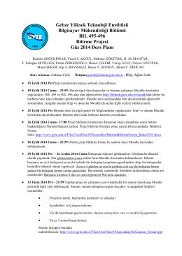 Güz 2014 Lisans Bitirme Projesi Ders Planı Güncellendi