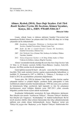 Alimov, Rysbek (2014), Tanrı Dağı Yazıtları. Eski