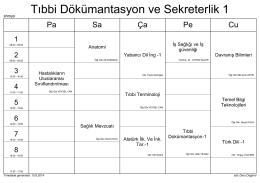 Tıbbi Dökümantasyon ve Sekreterlik 1