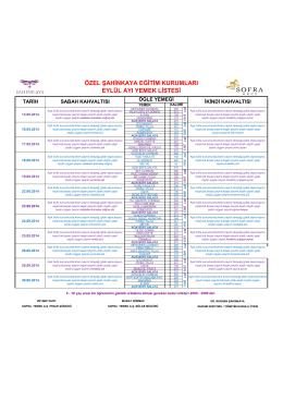 özel şahinkaya eğitim kurumları eylül ayı yemek listesi