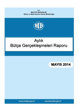 2014 Mayıs Ayı Merkezi Yönetim Bütçe Gerçeklesmeleri Raporu
