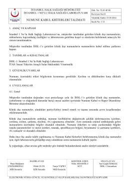 Numune Kabul Kriterleri Talimatı - İstanbul Halk Sağlığı Müdürlüğü
