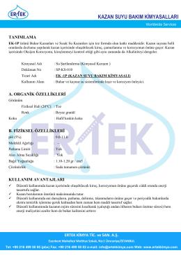 EK-1P Kazan Suyu Kışır-Korozyon İnhibitörü (Toz Ürün)