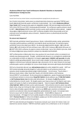 Uluslararası Bilimsel Yayın Teşvik Sınıflamasının