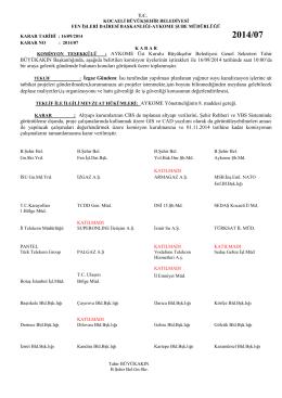 07 nolu karar - Kocaeli Büyükşehir Belediyesi