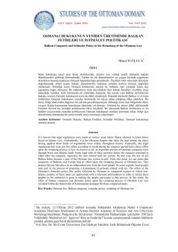 osmanlı hukukunun yeniden üretiminde balkan fetihleri ve istimâlet