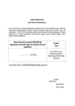 Bosna Hersek menşeli 400.000 kg Sogutulmus