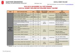 2014-2015 akademik yılı güz dönemi sosyal hizmet bölümü
