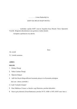 KMT İlk Belge Başvuru Dilekçe Örneği