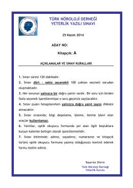 Soru Kitabı A - Türk Nöroloji Derneği