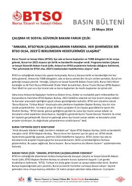 23.05.2014 BTSO Ankara Buluşması Faruk Çelik