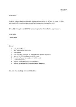 03.11.2014 Sayın Velimiz, 2014-2015 eğitim