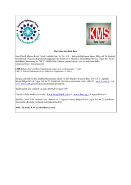 Mal Alımı için ihale ilanı Kms Plastik Makine Kağıt Tekstil Ambalaj