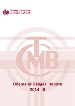 Ödemeler Dengesi Raporu - 2014 III. Çeyrek