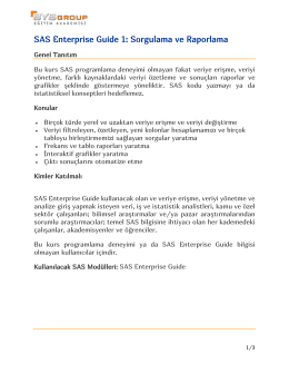 SAS Enterprise Guide 1: Sorgulama ve Raporlama